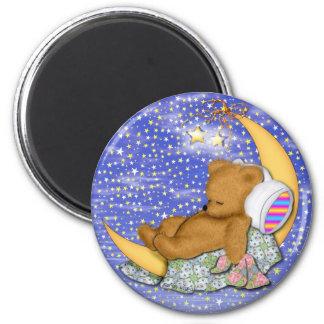 Sleepy Moon Bear 6 Cm Round Magnet