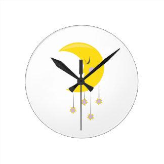 Sleepy Moon Round Clock
