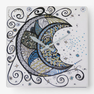 Sleepy Moon Square Wall Clock