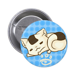 Sleepy Onigiri Cat Button (Blue)