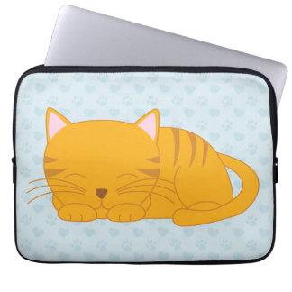 Sleepy Orange Tabby Cat {blue} Laptop Computer Sleeve
