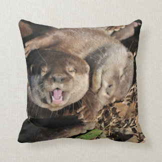 Sleepy otters photo cushion
