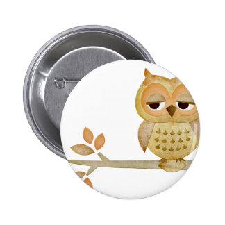 Sleepy Owl in Tree 6 Cm Round Badge