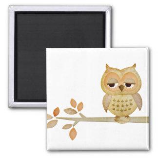 Sleepy Owl in Tree Magnet