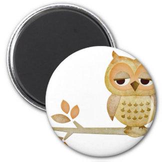 Sleepy Owl in Tree 6 Cm Round Magnet