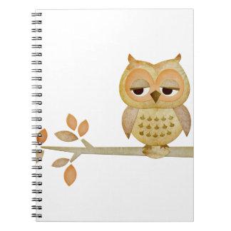 Sleepy Owl in Tree Notebook