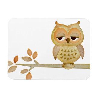 Sleepy Owl in Tree Premium Flexi Magnet