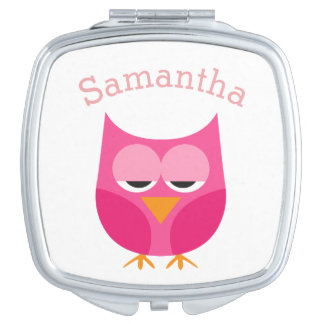 Sleepy Pink Owl Personalized Compact Mirrors