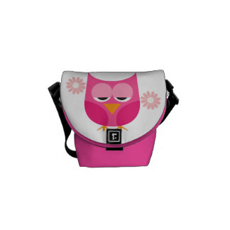 Sleepy Pink Owls and Flowers Courier Bags