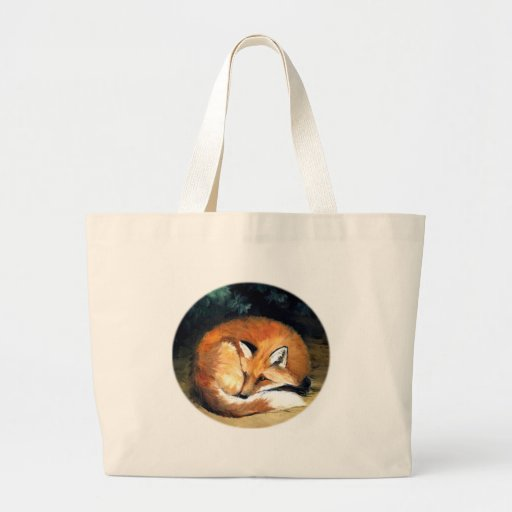 Sleepy Red Fox Animal Art Tote Bag