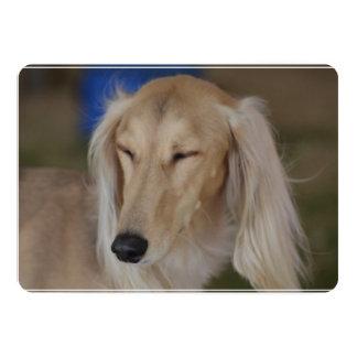 Sleepy Saluki Dog 13 Cm X 18 Cm Invitation Card