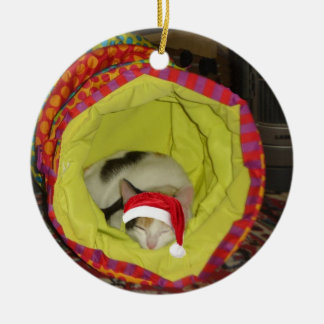 Sleepy Santa Cat Round Ceramic Decoration