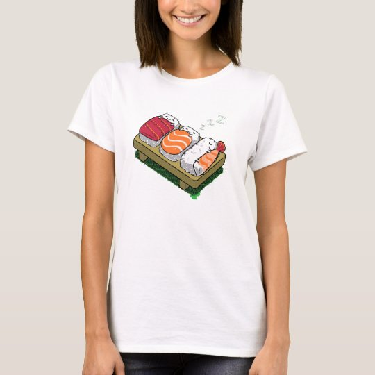 sleepy sushi women cute funny t-shirt