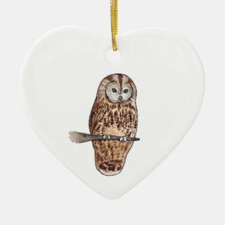 Sleepy Tawny owl Christmas Ornament