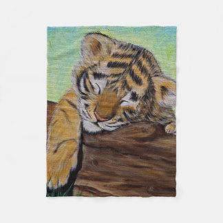 Sleepy Tiger cub Fleece Blanket