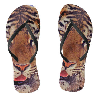 Sleepy Tiger Flip Flops