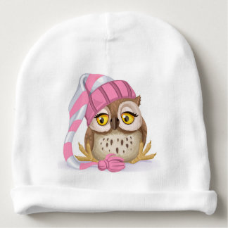 Sleepy Time Owl Baby Hat - See Back! Baby Beanie