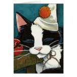 Sleepy Tuxedo Cat Clown Note Card
