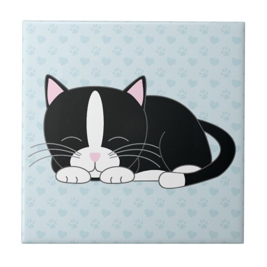 Sleepy Tuxedo Cat Small Square Tile