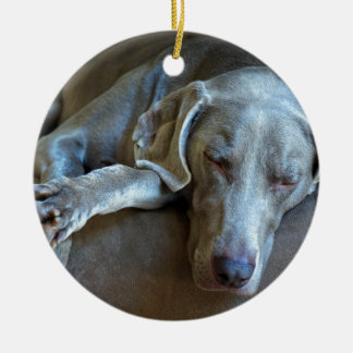 Sleepy Weimaraner Christmas Ornament