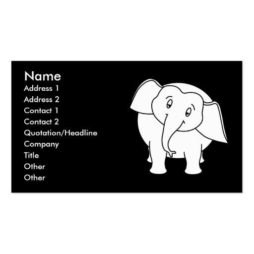 Sleepy white elephant cartoon business card templates for Cartoon business cards