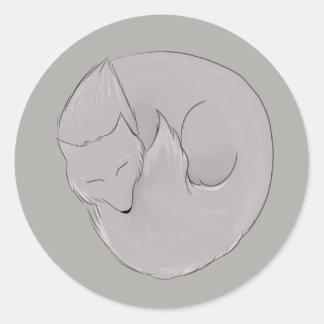Sleepy Wolf Classic Round Sticker