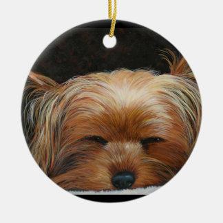 Sleepy Yorkie Christmas Tree Ornament