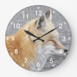 Sleepytime Fox Photo Large Clock