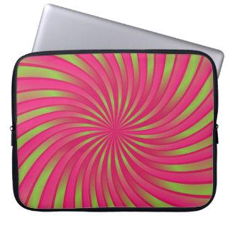 Sleeve Laptop green and coral spiral vortex