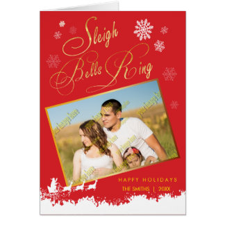Sleigh Bells Ring Family Photo Christmas Holiday Card