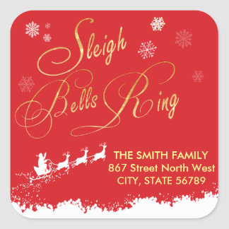 Sleigh Bells Ring Snowflake Santa Red Classic Square Sticker