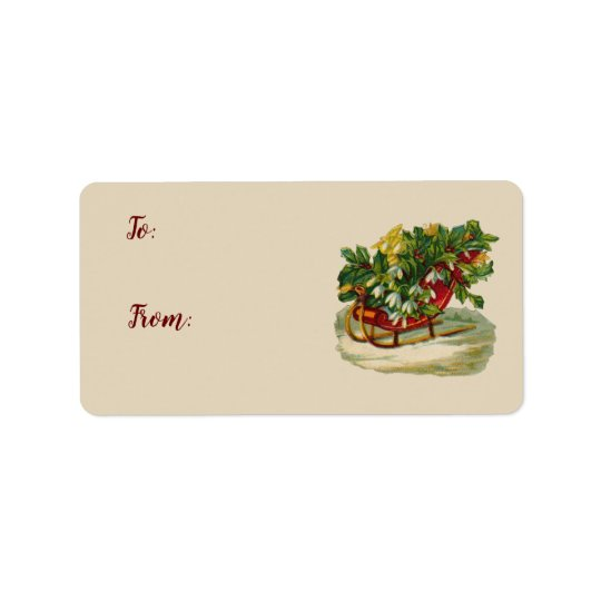 Sleigh of Holly Vintage Christmas Gift Tags
