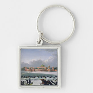 Sleigh Race at the Petrovsky Park in Moscow Silver-Colored Square Key Ring