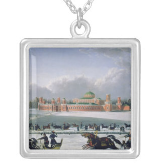 Sleigh Race at the Petrovsky Park in Moscow Square Pendant Necklace