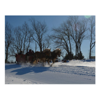 Sleigh ride Stowe Vermont Postcard