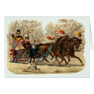 """Sleigh Ride"" Vintage Christmas Card"
