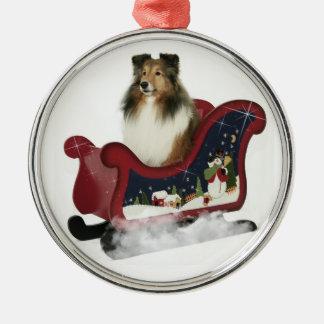 Sleigh Sheltie Christmas Ornament