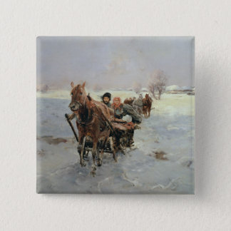 Sleighs in a Winter Landscape 15 Cm Square Badge