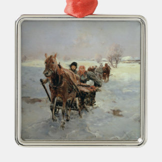 Sleighs in a Winter Landscape Christmas Ornament
