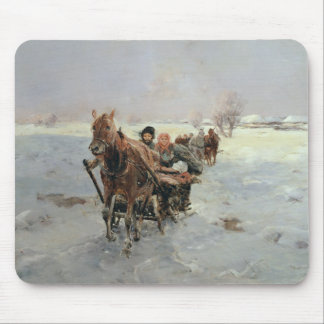 Sleighs in a Winter Landscape Mouse Pad