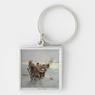 Sleighs in a Winter Landscape Silver-Colored Square Key Ring