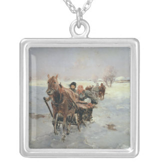 Sleighs in a Winter Landscape Silver Plated Necklace