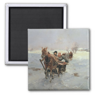 Sleighs in a Winter Landscape Square Magnet