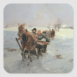 Sleighs in a Winter Landscape Square Sticker