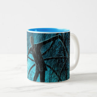 Slender Man in the Woods Two-Tone Coffee Mug