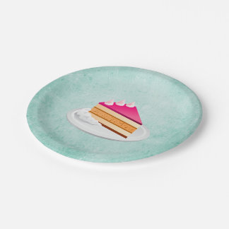 slice of cake on a green vintage texture 7 inch paper plate