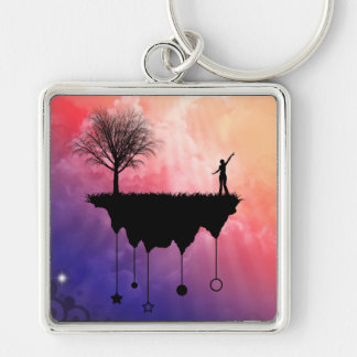 Slice of Earth Silver-Colored Square Key Ring