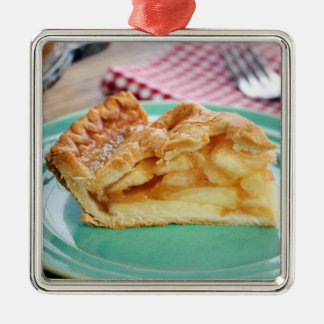 Slice of fresh baked apple pie on plate Silver-Colored square decoration