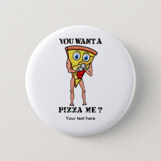 Slice of Pizza Wearing Boxing Gloves 6 Cm Round Badge