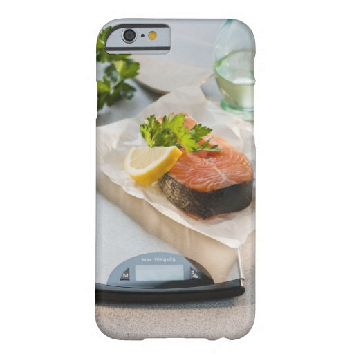 Slice of salmon on weight scale iPhone 6 case